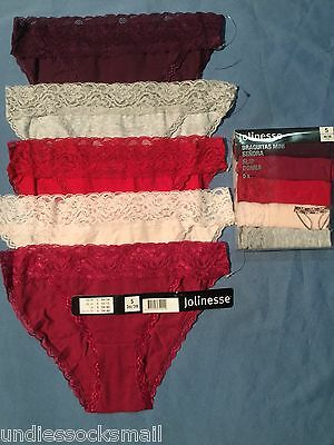 5  Women jolinesse Lace bikini  Knickers cotton bulk 8-10,10-12,12-14,14-16