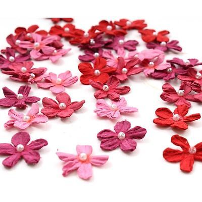 Hobbycraft Red Mini Paper Flowers Craft Embellishment Card Making 40 Pack