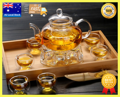 8 Piece Glass Tea Set 1000ml Teapot With Infuser + Teapot Warmer + 6 Cups