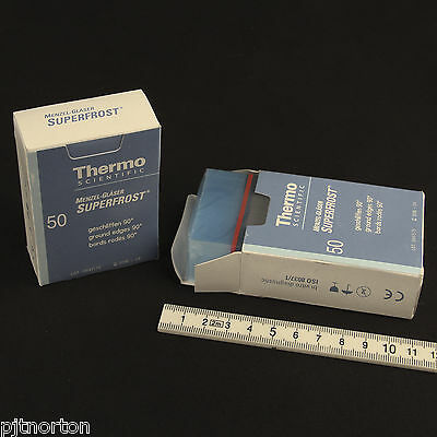 Two boxes of Thermo BLUE Frosted Microscope slides 100 in total 76 x 26mm