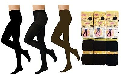 "2 Pairs Womens Ladies Navy Brown Nylon Opaque Tights 70 Denier Size 36-42"" Hips"