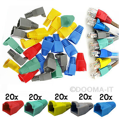 100 x RJ45 Cat6 Cat5e Network Ethernet Cable End Connectors Protector Cover Boot