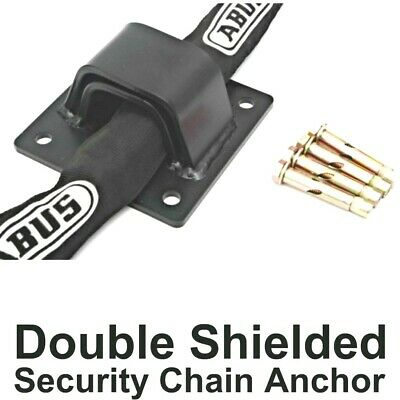 Double Shielded Security Wall & Ground Anchor - Takes Big Bike Chain - BLACK