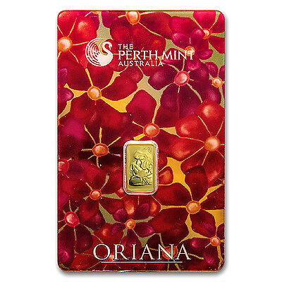 1 gram Gold Bar - Perth Mint Oriana Design (In Assay) - SKU #23557