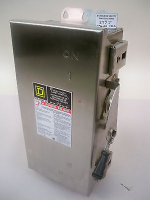 Square D Stainless HU361DS FO5 30a 600v 3ph Non-Fused Refurbished Safety Switch