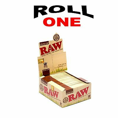 Raw Box 50 Packs Of King Size Slim  Organic Natural Rolling Paper Hemp