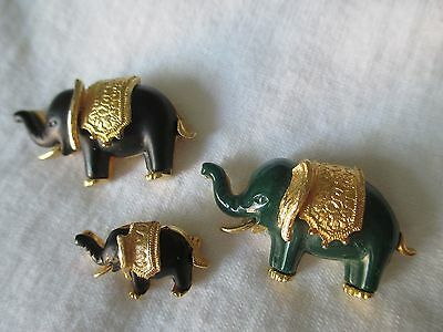 Elephant family trio pins broochs 2 black 1 green  gold color accents EUC