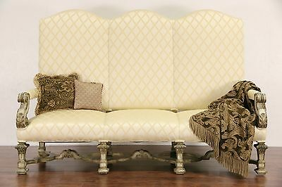 Renaissance Carved 1910 Antique Painted Hall Settee or Sofa, New Upholstery