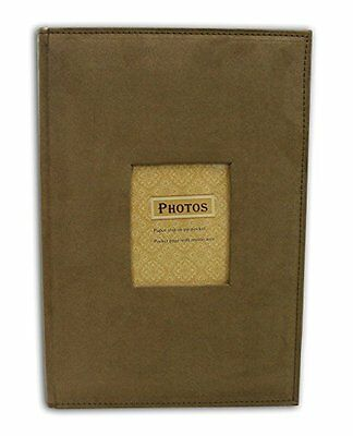 "Suede Brown Cover Photo Album Holds 300 4""x6"" pictures 3 per page"