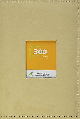 """Suede Cover Beige Photo Album  Holds 300 4""""x6"""" pictures 3 per page"""