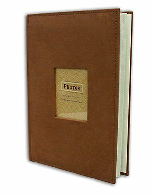 """Suede Cover  Rusty Bronze Photo Album Holds 300 4""""x 6"""" pictures 3 per page"""