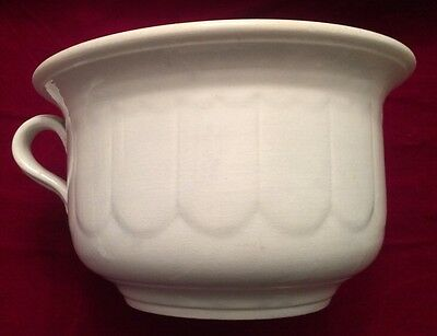 "Antique Unmarked White Patterned Ironstone Chamber Pot- 9.5"" X 5.5"""