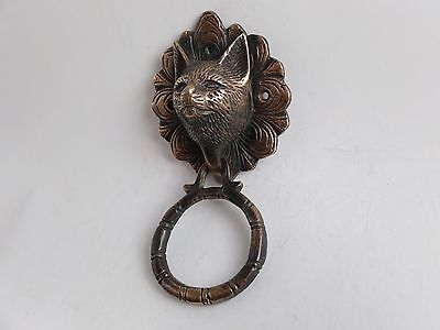 Vintage Antique Style Hand Made Solid Brass Cat Door Knocker
