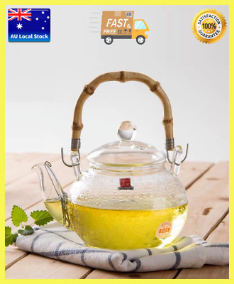 Retro Style Bamboo High Handle Glass Teapot With Spring Strainer 600ml