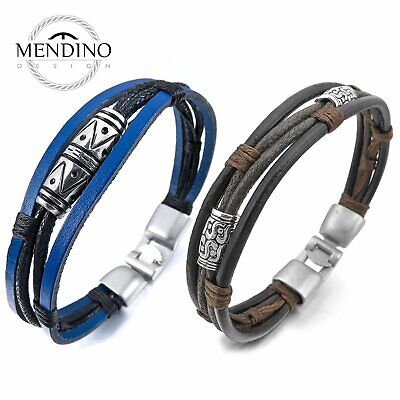 MENDINO Men's Alloy Leather Rope Bracelet Tribal Braided Cuff Buckle Bangle Punk