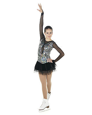 New Competition Skating Dress Elite Xpression 1456 Black Silver Swirls AS SMALL