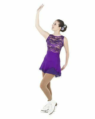 New Competition Skating Dress Elite Xpression 1475 Purple Lace AL LARGE