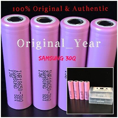 4 18650 SAMSUNG 30Q  3000mah 15A HIGH DRAIN RECHARGEABLE BATTERY FREE CASE