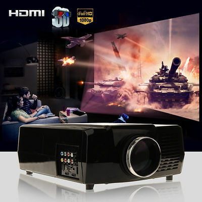 HOT 1080P 3000 Lumens 3D HD LED LCD Home Theather Projector HDMI,USB,VGA Europe