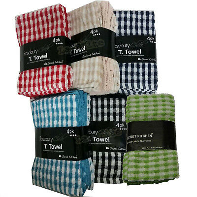 Tea Towels Pack Set Terry Cotton Kitchen Dish Cloths Large Cleaning Check Stripe