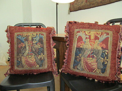 "PAIR OF ANTIQUE TAPESTRY BIRD PILLOWS 19th CENTURY FRENCH 20"" X 18"" AUTHENTIC"