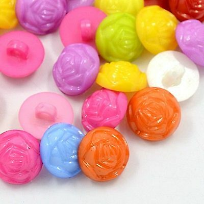 lot 20 boutons flleur rose 14 mm multicolore couture mercerie scrapbooking neuf