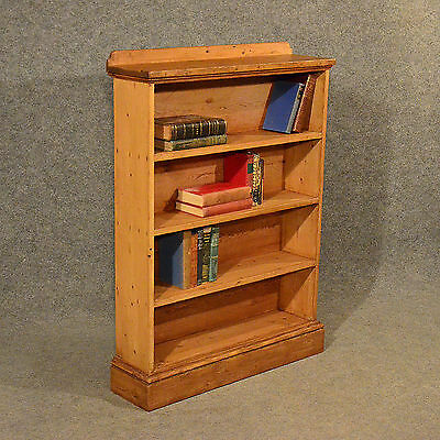 Antique Pine Open Cabinet Bookcase Shelves Original English Victorian c1900