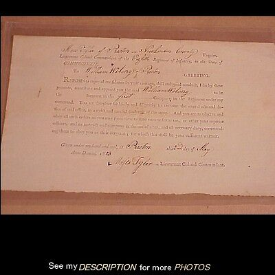 Antique 1803 Connecticut Infantry Military Appointment Preston Ct
