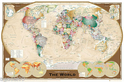 MAXI SIZE MAP OF THE WORLD 91.5 x 61cm POSTER WITH COUNTRY NAME WALL GIFT
