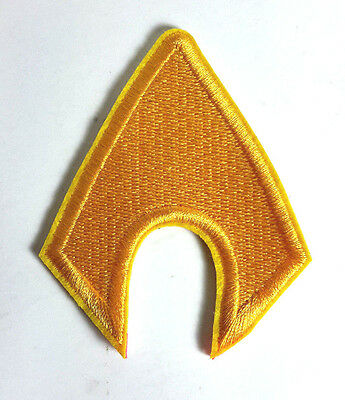 """AQUAMAN Logo Die Cut 3"""" Tall Embroidered Patch-FREE S&H (DCPA-14)"""