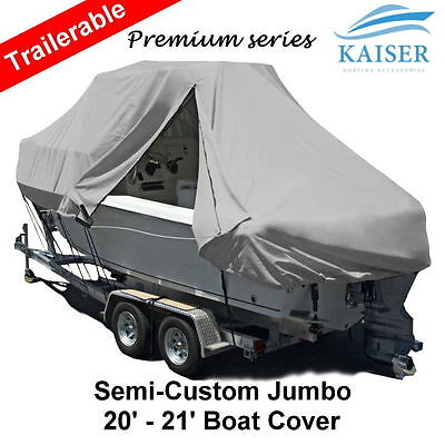 New Design with Zipper 600D 6.1-6.4m 20ft-21ft T-Top Jumbo Boat Cover Grey