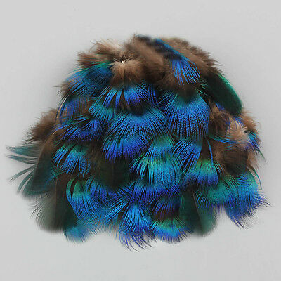 "10PCS Peacock Blue Plumage Feathers 4-7 cm/2-3"" for Crafts Feather Trimmings"