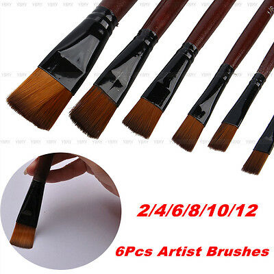 Newest 6Pcs/Set Nylon Acrylic Oil Paint Brushes For Artist Supplies Watercolor