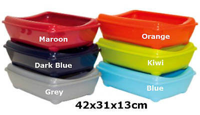 Cat  Medium Litter Tray With Rim 42x31x13cm 6 Colours Quality Box Pan Toilet Loo