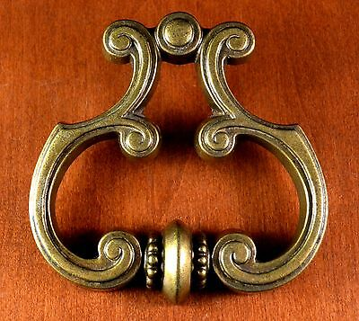 "Vintage Cast Brass ""AMAZING"" Detailed Keeler Brass Pull N6675 Holes 1 1/4"" Apart"