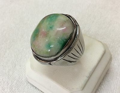 Huge Natural Men Agate Rings Rainbow Colorful Stone Unique Islamic Size 11.5 US