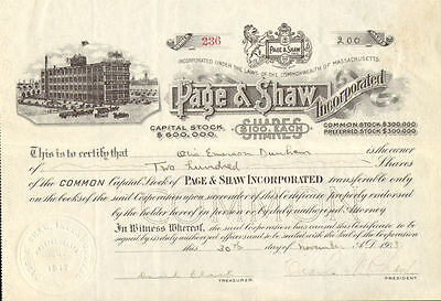 Page & Shaw Candy > 1918 Massachusetts stock certificate signed Shaw & Dunham