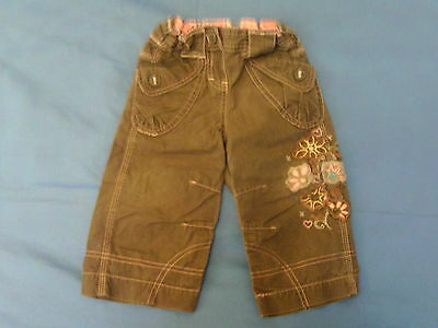 Baby Girls 9-12 months - Brown Trousers with Floral Embroidery - Marks & Spencer