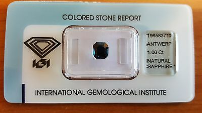 IGI Certified Australia Natural Dark Blue Sapphire 1.06 carats Transparent