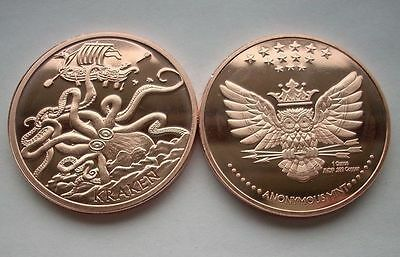 The Kraken 1 oz .999 Copper BU Round USA Made Proof-Like American Bullion Coin