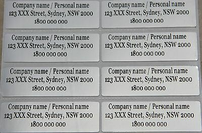 40 Silver Personalised Name Stickers Vinyl Tag / Label, 4.7 X 1.5 CM, Waterproof
