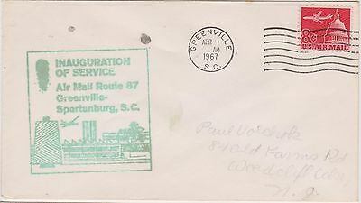 (USO-116) 1967 USA 8c Airmail inauguration of Greenville Spartanburg SC (116DR)