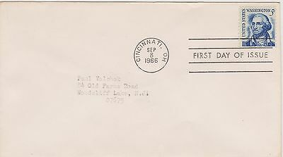 (USO-168) 1966 USA FDC 5c blue Washington used (168FE)