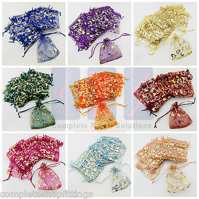 LUXURY Heart Print Organza Gift Bag Jewellery Pouches Wedding Party Candy Favour