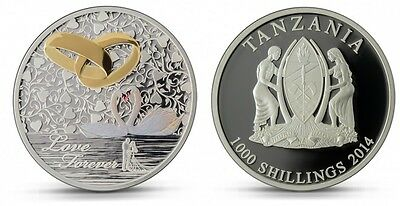 silver coin Love forever, wedding, Tanzania, 2014, 1000 chillings