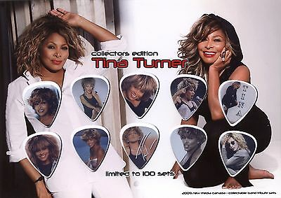 Tina Turner guitar picks on photo display LIMITED