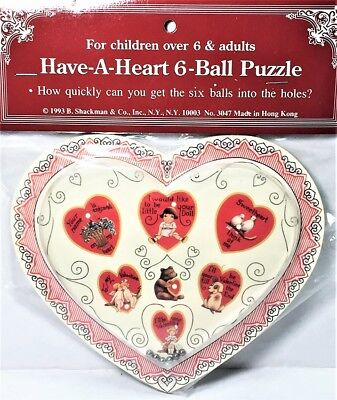 VALENTINES GIFT VICTORIAN HEART DEXTERITY PUZZLE BALL TOY GAME NOS Shackman