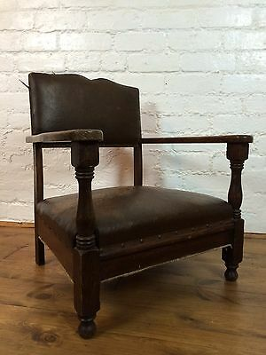 Vtg Small Moustache Back French Gentleman's Club Cocktail Fireside Arm Chair