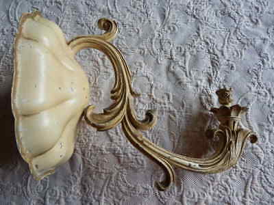 Antique Huge Scrolly Single Candleabra Wall Sconce Shabby French Provincial