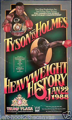 1988 MIKE TYSON v LARRY HOLMES on-site boxing poster rare